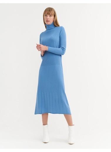 BGN Mavi - Balıkçı Yaka Triko Elbise Mavi